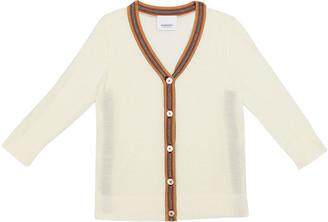 Burberry Girl's Josie Icon Stripe Trim Wool Cardigan, Size 6M-2