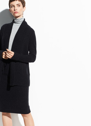 Vince Wool-Cashmere Wide Collar Cardigan