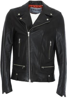 S.W.O.R.D. Leather Zipped Biker Jacket