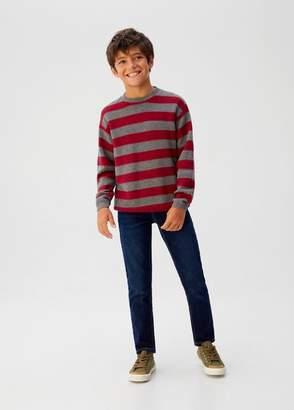MANGO Striped bicolor sweater maroon - 5 - Kids
