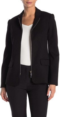 T Tahari Notch Collar Full Zip Jacket