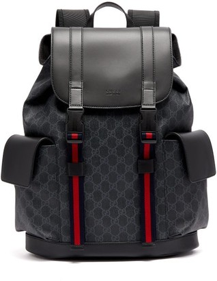 Gucci GG Supreme Canvas And Leather Backpack - Black