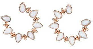 My Story The Piper 14K Rose Gold & Opal Front-Facing Hoop Earrings