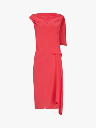 AllSaints Foy Silk Waterfall Detail Dress, Roseland Pink