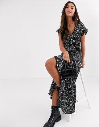 New Look ruffle sleeve wrap dress in polka dot-Black