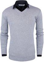 Tom's Ware Mens Slim Fit V-Neck Long Sleeve Sweater TWLC0-US L