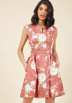 ModCloth Especially Dandy A-Line Dress in Mauve in 2X - Cap Fit & Flare Knee Length