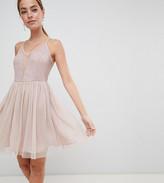 Asos DESIGN Petite sleeveless dobby lace mix mini dress