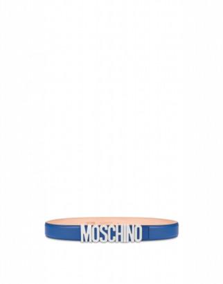 Moschino Calfskin Belt With Logo Man Blue Size 48 It - (32 Us)