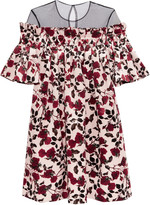 Mother of Pearl Nena pleated tulle and floral-print velvet mini dress