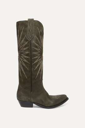 Golden Goose Wish Star Embroidered Suede Boots - Green