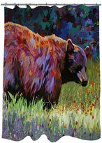 Thumbprintz Wildflowers Bear Fabric Shower Curtain