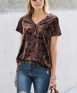 Amaryllis Women's Tee Shirts Crushed - Brown Crushed Velvet Relaxed Hi-Low Tee - Women & Plus