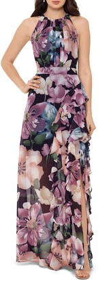 Betsy & Adam Floral Ruffle Slit Chiffon Halter Gown