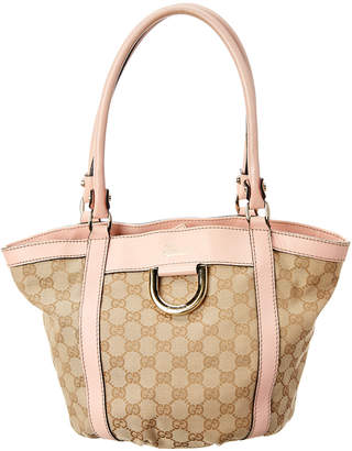 Gucci Gold Gg Canvas & Pink Leather D-Ring Handbag
