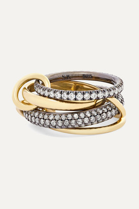Spinelli Kilcollin Vega Set Of Four 18-karat Gold And Rhodium-plated Sterling Silver Diamond Rings