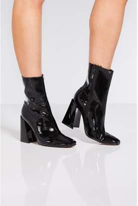 Quiz Black Patent Square Heel Ankle Boots