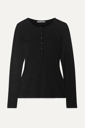Ninety Percent + Net Sustain Ribbed Organic Cotton-blend Jersey Top - Black