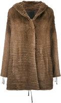 Liska - hooded swing coat - women - Mink Fur/Cashmere/Mercerized Wool - S