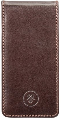 Maxwell Scott Bags Maxwell Scott Luxury Brown Leather Flip Phone Case - Renato Brown