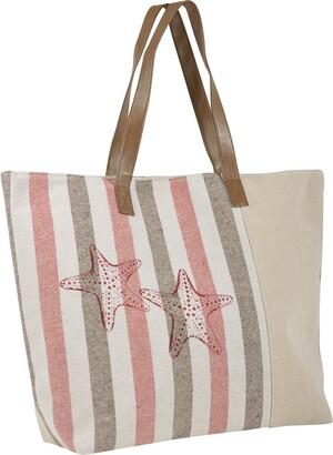 Lazy Beach Bag Ladies Canvas Beach Shoulder Bag Handbag Shopping Tote Holiday Starfish Green