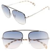 Tommy Hilfiger Women's Gigi 59Mm Gradient Lens Brow Bar Navigator Sunglasses - Light Gold/ Blue Gradient