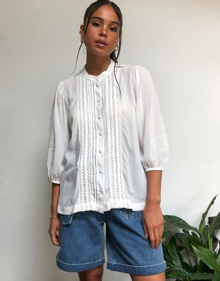 Selected prairie blouse in white