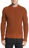 Tom Ford Fisherman Ribbed Crewneck Sweater, Burnt Caramel