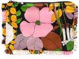 La DoubleJ Big Flower ruffle-trimmed clutch