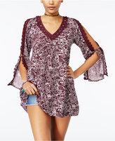 Roxy Juniors' Wendi Printed Lace-Trim Dress