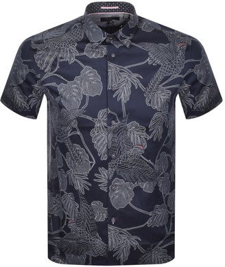 Ted Baker Downdog Short Sleeved Shirt Navy