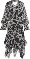 Preen by Thornton Bregazzi Alena Printed Devoré Silk-blend Chiffon Dress - Black