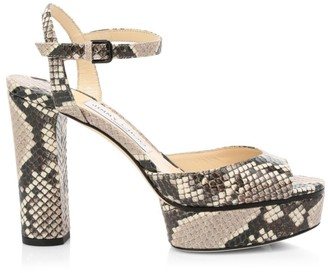 Jimmy Choo Peachy Snakeskin-Embossed Leather Platform Sandals