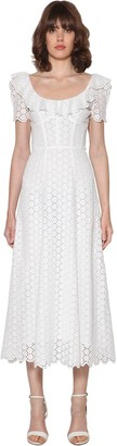 Polo Ralph Lauren Ruffled Eyelet Lace Cotton Midi Dress