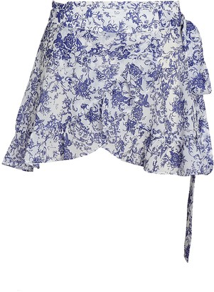 Caroline Constas Floral Chiffon Wrap Skirt