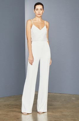 Amsale Beaded Stretch Crepe Jumpsuit