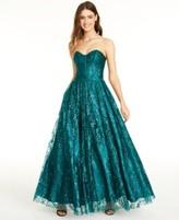 Blondie Nites Juniors' Glitter Corset Gown