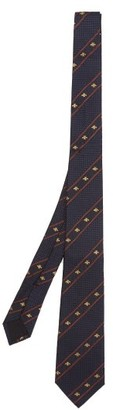 Gucci Bee & Web-striped Silk Tie - Navy