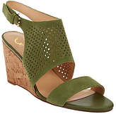 C. Wonder As Is Perforated Suede Cork Wedge Sandals