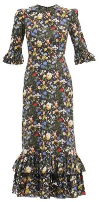 The Vampire's Wife The Cinderella Floral-print Cotton-poplin Dress - Black Multi