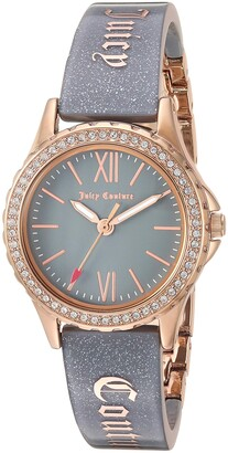 Juicy Couture Black Label Women's JC/1068RGGY Swarovski Crystal Accented Rose Gold-Tone and Grey Shimmer Resin Bangle Watch