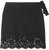 I.D. Sarrieri Lace-trimmed Stretch Mini Skirt - Black