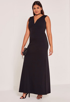 Missguided Black Plus Size V-Neck Plunge Maxi Dress