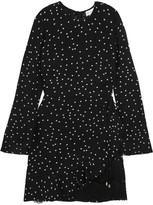 Rebecca Vallance Bella Lace-trimmed Printed Crepe De Chine Mini Dress - Black