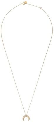 Feidt Paris 9kt yellow gold petite Corne Lune sapphire pendant necklace