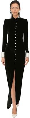 Alessandra Rich Velvet Button Long Dress W/ Crystals