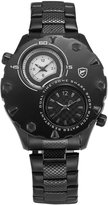Shark Men's Sport Dual Time Zone Stainless Steel Round Analog Quartz Wrist Watch SH296
