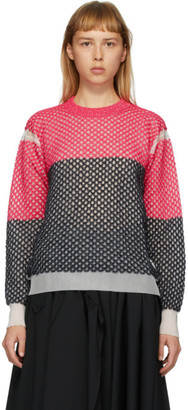 Junya Watanabe Pink Yarn Lilly Crewneck Sweater