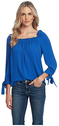 CeCe 3/4 Sleeve Square Neck Blouse w/ Ties (Moonlit) Women's Clothing