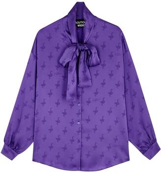 Boutique Moschino Purple Satin Jacquard Blouse